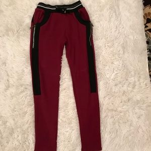 Maroon And Black Jeggings